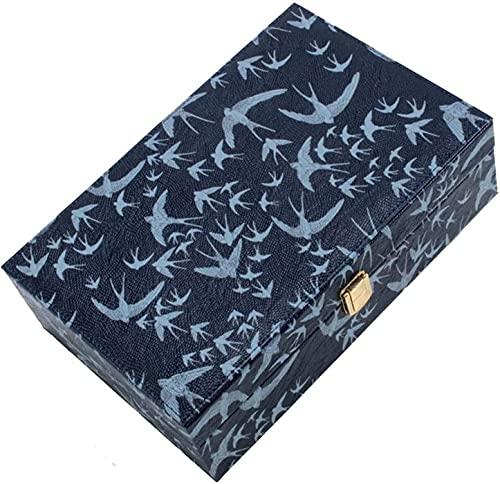Qasole Caja Joyero Caja De Joyería De Viaje, Organizador De Joyería Almacenamiento Caja De Joyería De Exhibición Regalos De Cuero De Cuero De 2 Capas De Gamuza Cuadrada En Forma De Cuadrado