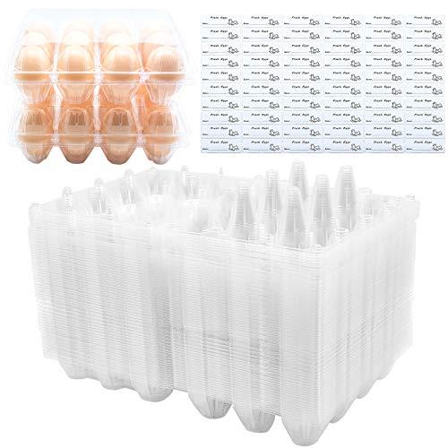 BULKBUY Egg Cartons 60 Packs, Clear Eco-friendly Plastic Blank Egg...