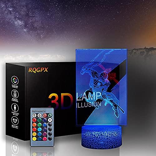 3D LED ilusión lámpara noche luz Spiderman 16 colores LED noche luz con control táctil Navidad cumpleaños regalos para niños