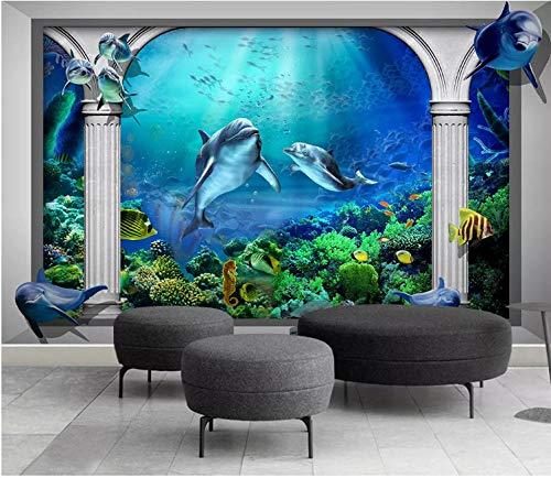 SHANGZHIQIN 3D Photo Wallpaper Embossed Murals Wallpapers for Living Room, Dolphin Marine Aquarium Roman Column