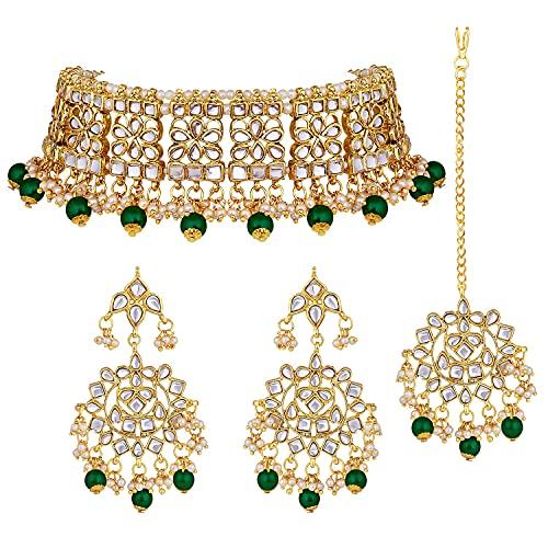 I Jewels Placcato in Oro 18k Matrimonio Indiano Bollywood Designer Perla Kundan Collana Girocollo Set di Gioielli per Le Donne (K7069G)