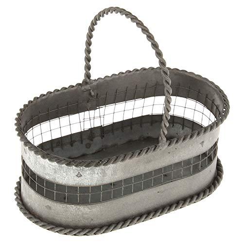 MACOSA SA82190 - Mini cesta decorativa de metal ovalada con asa, estilo rústico, cesta de metal, cesta de almacenamiento, decoración, cesta de regalo, cesta decorativa
