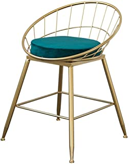 Chair Barstool Chair footrest with white leather backrest Dining chairs Barstool Bar Max. Load 150 kg, gilded metal legacy...