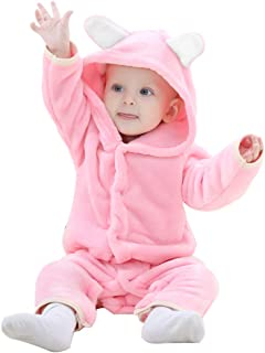 Baby Bear Costume, Animal Newborn Cosplay Pajamas for Girl Winter Flannel Romper Outfit, One Piece