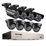 ZOSI 8CH Security Camera System Full 1080P HD-TVI Video DVR Recorder with (8) 2.0MP 1920TVL Bullet/Dome Weatherproof CCTV Cameras NO Hard Drive,Motion Alert, Smartphone, PC Easy Remote Access