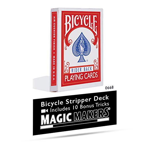 Magic Makers Bicycle Stripper Deck with 10 Bonus Tricks in Red - Tapered Magic Trick Deck