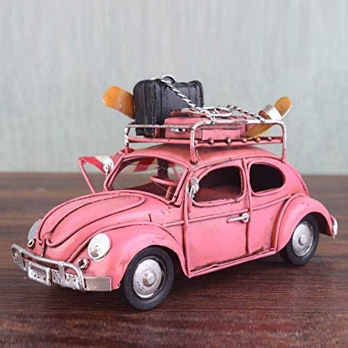 Llpeng Europäische Käfer Classic Cars Modell Die Neue Eisenblech Ornament Retro-Auto RV Modell Hand gemacht Dekoration Ornament Heiraten Geschenk Geburtstags-Geschenk (Color : Pink)