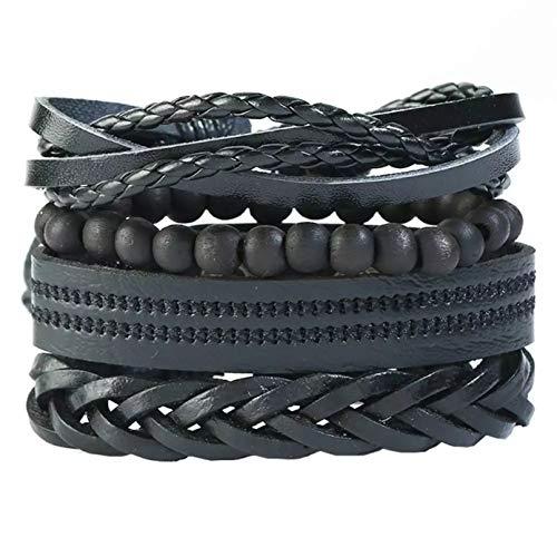 KUANGLANG 4 Uds.Pulsera de Tejido Retro brazaletes de Cuero Multicapa Unisex joyería Regalo Cuerda Envolver Pulseras brazaletes Regalo Masculino