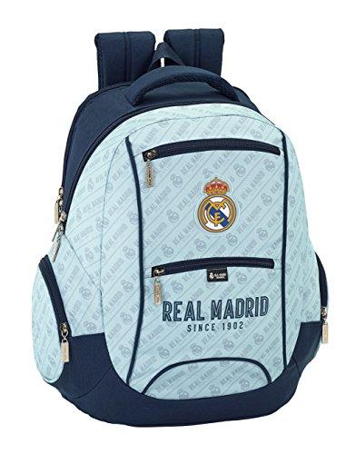 Real Madrid Corporativa Oficial Mochila Tipo Casual, 44 cm, Gris/Azul Marino