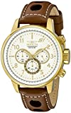 Invicta Men's S1 Rally 48mm Gold Tone Stainless Steel and Brown Leather Chronograph QuartzWatch, Brown (Model: 16011)