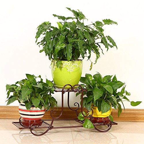 LVZAIXI Fleur Stand en Fer Forgé en Métal Fleur Stand Diverses Plantes Fleur Art Balcon Salon Fleur Pot Plante D'intérieur Et D'extérieur Balcon Décoration (Couleur : Marron)