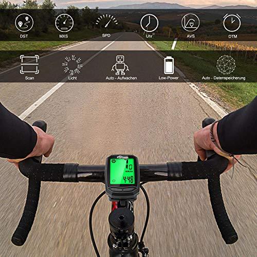 toptrek Fahrradcomputer Kabellos 13 Funktionen Fahrradtacho IPX7 wasserdichte Radcomputer LCD-Hintergrundbeleuchtung Kilometerzähler für Radsport Realtime Speed Track - 6