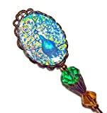 PEACOCK IILLUSTRATION GLASS Cabochon Stick Hat Pin Long Hatpin Gold Pl Vintage Style Green Crystal