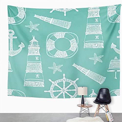 Y·JIANG Tapiz azul marino, diseño de ancla tropical con diseño de gaviotas para el hogar o el dormitorio, 152,4 x 127 cm