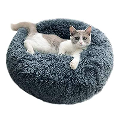 Vivi Bear Cat Bed Dog Bed Round pet nest Extra Soft Comfortable Cute,Cat Cushion Bed Washable,Oval Donut Nesting Cave Bed Suitable for Cats and Small Medium Dogs Dark Gray(15.8in in Diameter)