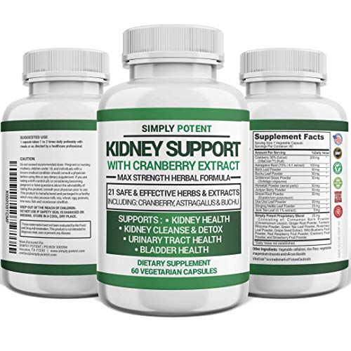 Kidney Support, Cleanse & Detox Supplement, High Potency 705mg Capsules Contain 21 Herbs Including Cranberry, Birch, Buchu, Uva Ursi & Astragalus to Support for Kidney, Bladder & Urinary Tract Health