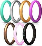 ThunderFit Women's Thin and Stackable Silicone Rings Wedding Bands - 7 Pack (Black with Turquoise Glitter, Turquoise, Copper, Silver, Red Glitter, Deep Pink, and Gold, 4.5-5 (15.7mm))