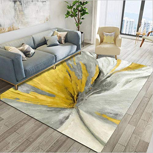makeups17 alfombras Modernas Grandes Alfombra Interior Y Exterior fácil Mantenimiento Ideal para salón, Cocina,Flores abstractas Gris Amarillo 140X200CM(4.6ft x 6.5ft
