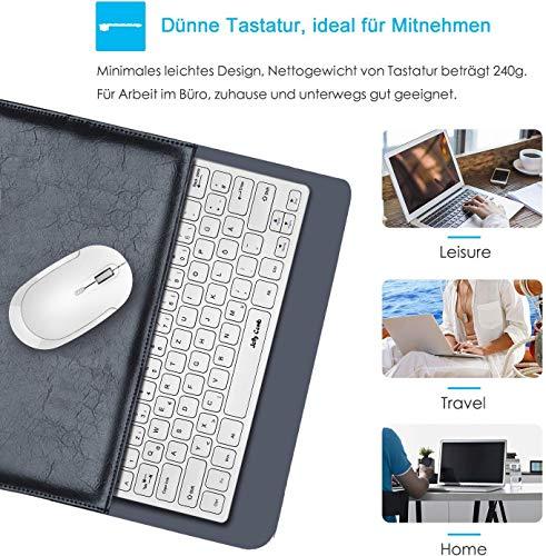 Jelly Comb Funk Tastatur mit Maus Set, 2.4G Kabellose Mini Ultraslim QWERTZ Tastatur und Funkmaus für PC, Laptop, Smart TV, Weiß
