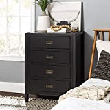 Walker Edison Traditional Simple Wood Accent Entryway Console Sideboard Living Room Storage Shelf, 4 Drawer, Black