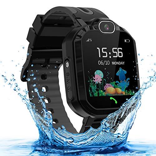 LDB Kinder Smartwatch Telefon Wasserdicht Phone LBS Tracker Mikrochat SOS Taschenlampe Mathe Spiel Wecker Touchscreen schwarz