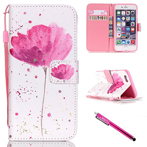iPhone 5S Case, iPhone 5 Wallet Case, Firefish [Kickstand] [Shock Absorbent] Double Protective Case Flip Folio Slim Magnetic Cover with Wrist Strap for Apple iPhone 5/5S/SE-Flower