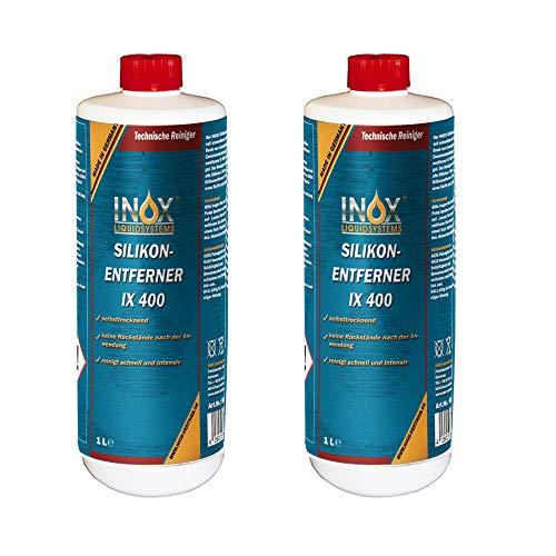 INOX® IX400 Silikonentferner, 2 x 1L - Universeller Reiniger zum Lösen und Entfernen von Silikon, Fett, Öl und Wachs