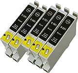 5 Multipack de alta capacidad Epson T0555 Cartuchos Compatibles 5 negro para Epson Stylus Photo R240, Stylus Photo R245, Stylus Photo RX425, Stylus Photo RX520. Cartucho de tinta . T0551 , TO551 © 123 Cartucho