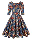 Women Vintage 1950s Retro Rockabilly Prom Pleated Dress with Sleeves (Floral Navy Blue,Size L)