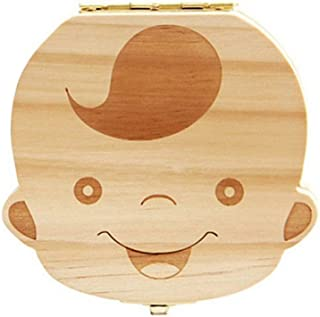 Anbaby Cute Personality Baby Teeth Box Save Wooden Boxes Deciduous Souvenir Box (Boy)