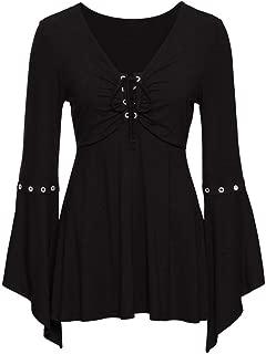 Women's Flar Sleeve Solid Bandge Shirt Casual Blouse Loose Cotton Tops T-Shirt