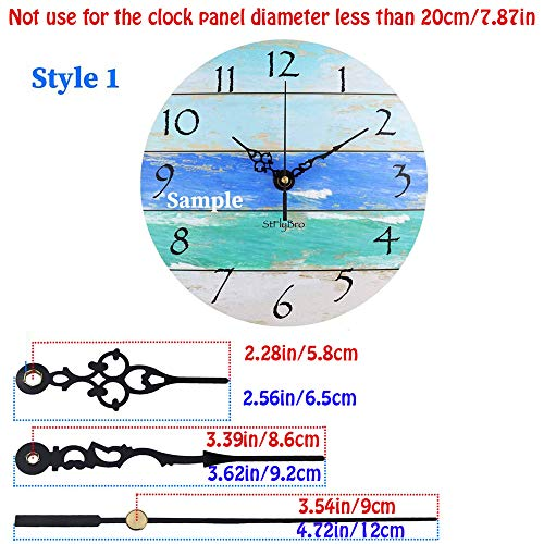 Satisfounder Non-Ticking Hands Quartz DIY Wall Clock Movement Mechanism DIY Repair Parts Replacement with 3 Different Pairs of Hands (1/4 Inch Shaft Length)