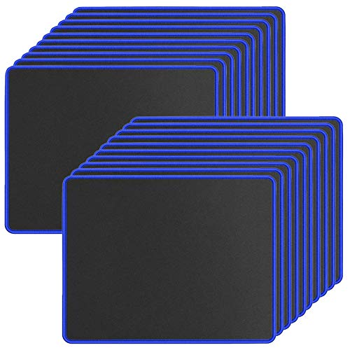 20 Pack Mouse Pad with Stitched Edges Mousepads Bulk Non-Slip Rubber Base, Waterproof Coating Mouse Pads for Computers, Laptop, Office & Home -(250mmx210mmx2mm) - Black with Blue Border