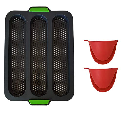 Non Stick Perforated Silicone Baguette Pan for French Bread Baking 3 Loaves Bake Mold With 2 Mitts