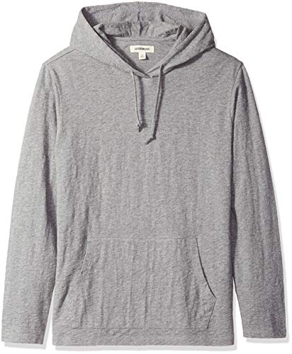 Marchio Amazon - Goodthreads, maglietta leggera da uomo, con cappuccio, in filato di cotone, Grigio (heather grey), US XL (EU XL-XXL)