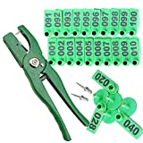 CHUANGRONG-US Thicken Animal Ear Tags Marker with Plier Precision Laser Printing Numbered Ear Taggers for Goats Sheep Cows hogs Pigs(001-100Number,3 Pins) Green
