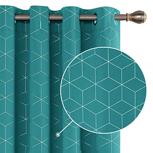 Deconovo Curtains Diamond Foil Printed Eyelet Curtains Blackout Curtains Thermal Insulated Curtains for Living room W46 x L72 Inch Turquoise One Pair