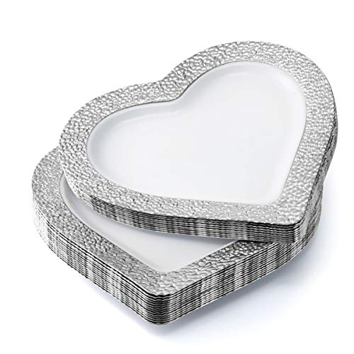 BloominGoods Heart Shaped Premium Plastic Dinner Plates (50 Pack), 10 Inch, White with Hammered Silver Rim