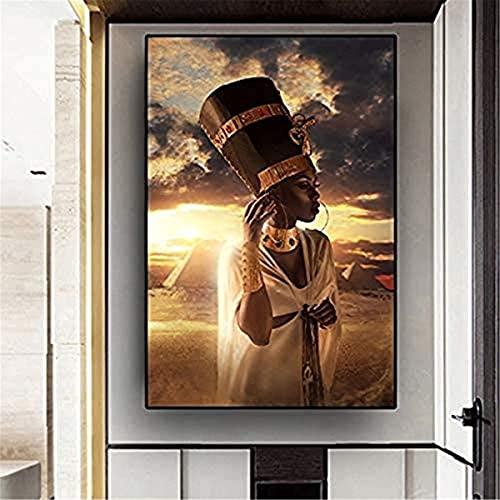 SKIUHS Schwarz Und Gold Afrikanische Kunst Frau Sonnenuntergang Ölgemälde Auf Leinwand Cuadros Poster Und Druckt Wandkunst Bilder Für Wohnzimmer. 50x75cm NoFramed