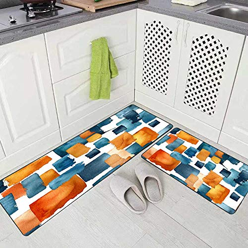 """Capsceoll Modern Kitchen Rug Carpet Rugs for Kitchen, Pattern Watercolor Navy Blue Orange Brushstrokes Isolated White Background Kitchen Rugs and Mats Non Skid Washable 17""""X48""""+17""""X24"""""""
