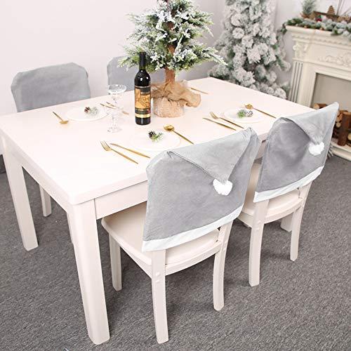 Muzhilli3 Weihnachtsdekoration, Weihnachten abnehmbare Weihnachtsmütze Stuhl Sitzbezug Xmas Home Party Dinner Decor - Grau