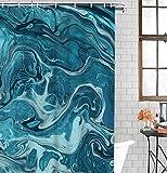 KDENDGGA Petrol/Muster Marmor Duschvorhang Mehltau Resistent Wasserdicht Bad Vorhang Wohnheim Wohnung Bad Gardinen 183 X 183 cm