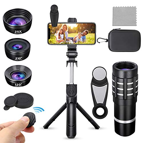 PJ-Since Phone Camera Lens with Bluetooth Selfie Stick Tripod, 9 in 1 Phone Lens Kit-12X Zoom Telephoto Lens+210° Fisheye Lens+25X Macro Lens+120°Wide Angle Lens for iPhone, Samsung, Pixel and More