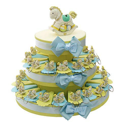 Bomboniere in Tortenform mit Pony-Schlüsselanhänger und zentraler Spardose, Verpackung inklusive, Hellblau Torta da 35 Pezzi
