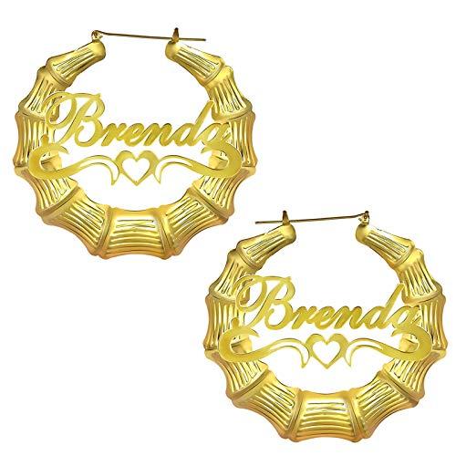 Pendientes personalizados Pendientes con nombre Aro de bambú Pendientes de mujer Nombre Pendientes con nombre Grabado Dangler(Dorado1 2.36)