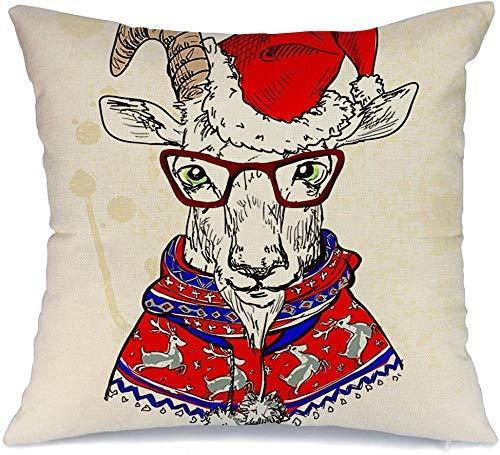 Funda de Cojine Throw CojínConcepto Humano Mano Gafas Sol Dibujado Cabra Hipster Osos Año Nuevo Vacaciones Suéter Fundas para almohada 45X45CM