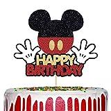 Mickey Mouse Happy Birthday Cake Topper, Glitter Mickey Inspired Cake Decor Boys Birthday Party Supplies