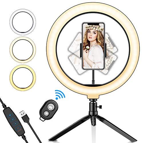 LED Selfie Ringlicht, SYOSIN Selfie Ringleuchte Stativ mit Fernbedienung mit Handyhalter 3 Leuchtmodi & 11 Helligkeitsstufen für Live Streaming,Videosschooting,Selfie Portrait,Beautylight