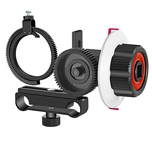 Neewer Follow Focus mit Zahnrad Ring Gürtel für DSLR-Kamera Camcorder DV Video passt 15mm Rod Film Machen System Schulter Unterstützung Stabilisator Film-Rig(rot/schwarz)