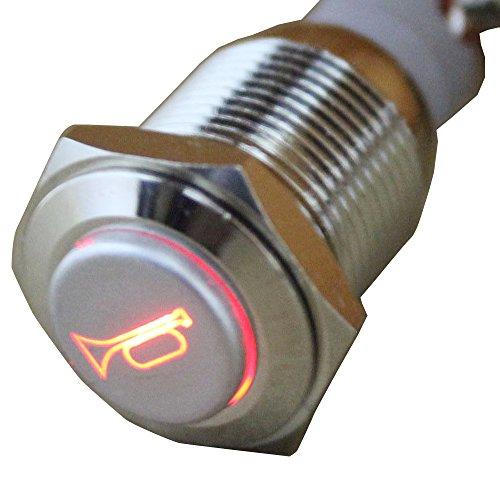 E Support la luz del cuerno del altavoz pulsador interruptor de palanca de metal de 16 mm momentáneo 12V auto del coche LED rojo